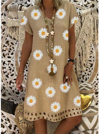 Imprimée/Fleurie Manches Courtes Droite Longueur Genou Décontractée/Élégante Robes