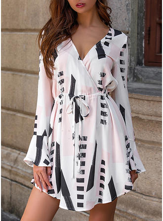 Geometric Print Long Sleeves/Flare Sleeves A-line Above Knee Casual Dresses