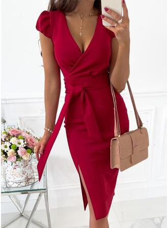 Solid Short Sleeves/Puff Sleeves Sheath Knee Length Elegant Wrap Dresses