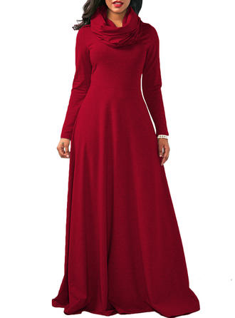 Solid Long Sleeves A-line Maxi Elegant Dresses