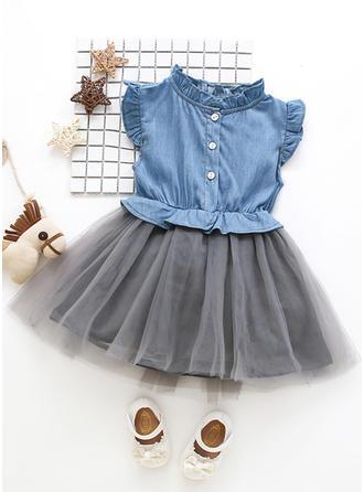 Meninas Fique Gola Botões Casual Bonito Vestido