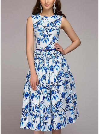 Print Floral Knee Length A-line Dress