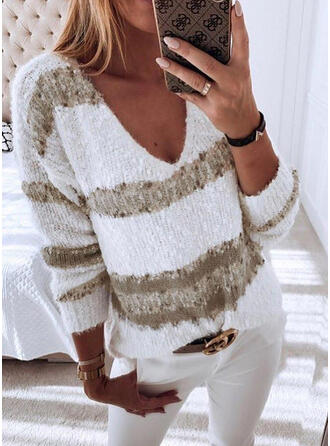 Print Chunky knit V neck Sweaters