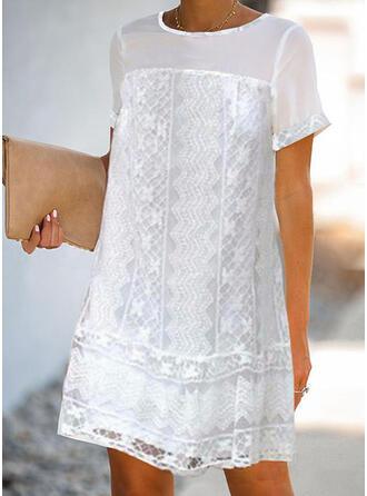 Encaje/Sólido Manga Corta Tendencia Sobre la Rodilla Casual/Elegante Túnica Vestidos