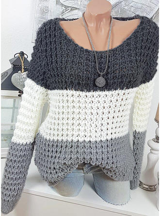 Color Block Grid Chunky knit Round Neck Sweaters