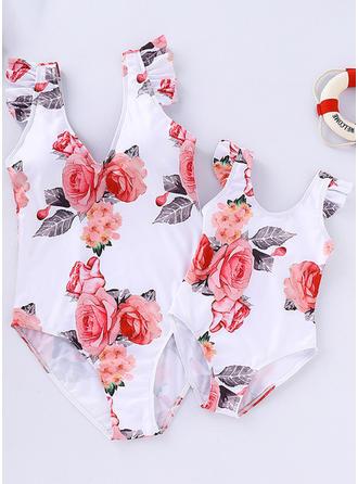 Far og mig Blomster Print Matchende Badedragt