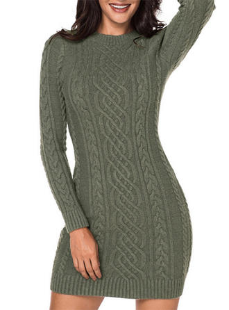 Polyester Round Neck Plain Cable-knit Chunky knit Sweater Dress