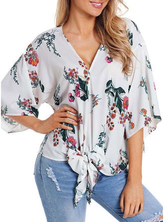 Cotton Blends V Neck Floral 1/2 Sleeves Casual Blouses