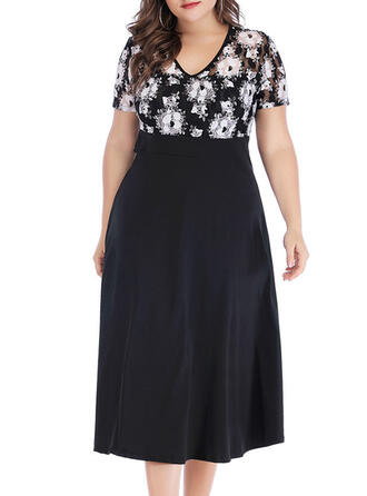 Print/Floral/Patchwork Short Sleeves A-line Casual/Plus Size Midi Dresses