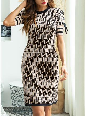 Print Round Neck Knee Length Sheath Dress