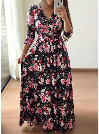 Print/Floral 3/4 Sleeves A-line Casual/Elegant/Plus Size Maxi Dresses