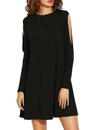 Solid Cold Shoulder Sleeve Shift Above Knee Little Black/Casual/Elegant Dresses