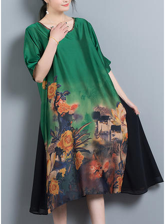 Silk Cotton With Print Knee Length Dress