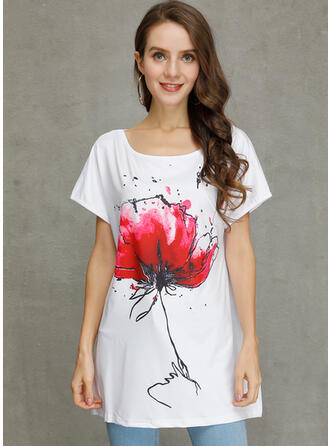 Floral Round Neck Short Sleeves Casual Knit Blouses