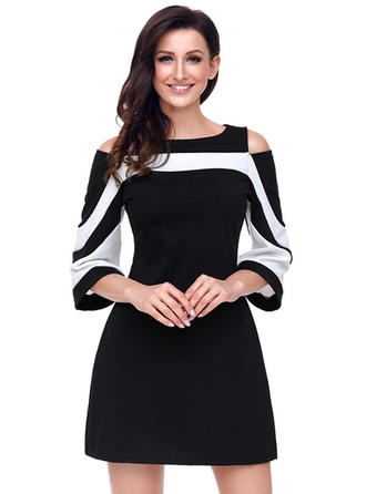 Polyester/Cotton Blends With Stitching Above Knee Dress