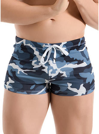 Men's Lined Padded Drawstring Swim Trunks