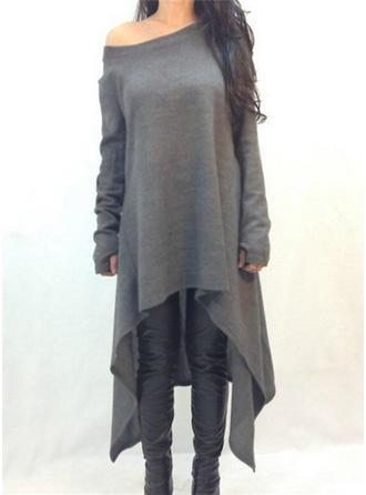 Mieszanki bawełniane Off the Shoulder Jednolity kolor Sukienka sweterkowa