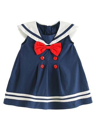 Chicas Collar Cuadrado raya Arco Casual Lindo Vestido