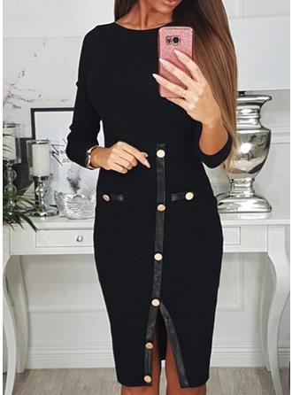 Einfarbig Lange Ärmel Etui Knielang Kleine Schwarze/Freizeit/Elegant Kleider