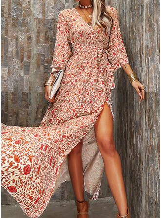 Print/Floral 3/4 Sleeves A-line Skater Casual/Boho/Vacation Maxi Dresses