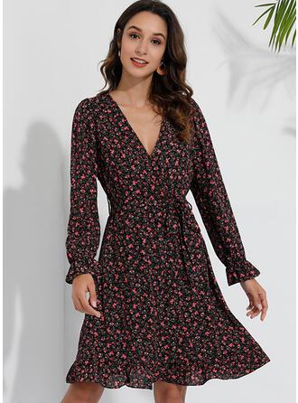 Print/Floral 3/4 Sleeves A-line Above Knee Casual/Elegant Dresses