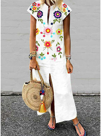 Print/Floral Short Sleeves Shift Maxi Casual Dresses