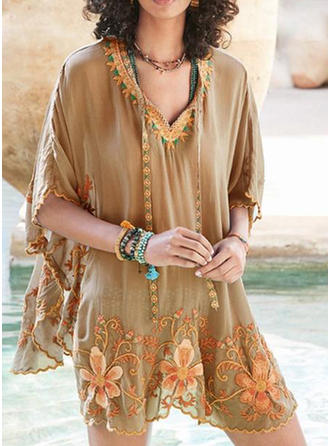 Embroidery Floral V neck 1/2 Sleeves Casual Blouses