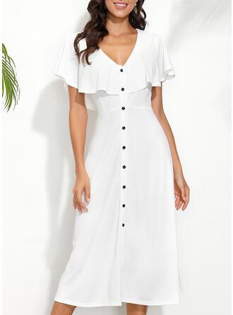 Solid Short Sleeves Sheath Little Black/Casual/Elegant Midi Dresses