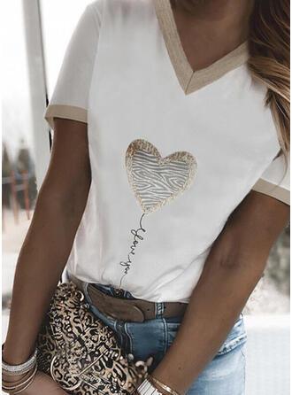 Figura Corazón Impresión Cuello en V Manga Corta Camisetas