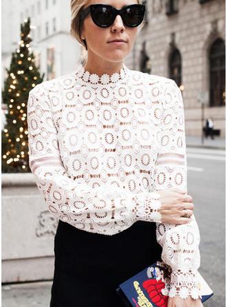 Polyester Stehkragen Ausschnitt Lace Lange Ärmel Hauchdünne Blusen