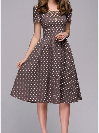 PolkaDot Short Sleeves A-line Knee Length Vintage/Casual/Elegant Dresses