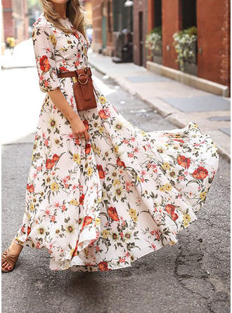 Nadrukowana/Kwiatowy Rękawy 3/4 W kształcie litery A Maxi Casual/Elegancki Sukienki