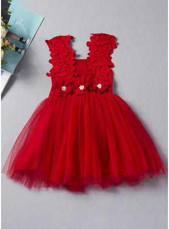 Girls Spaghetti Strap Solid Patchwork Lace Pearls Bow Casual Cute Dress