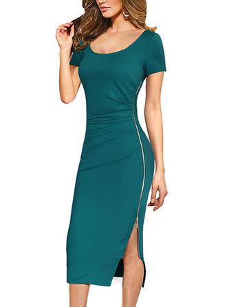 Solid Square Neck Midi Sheath Dress