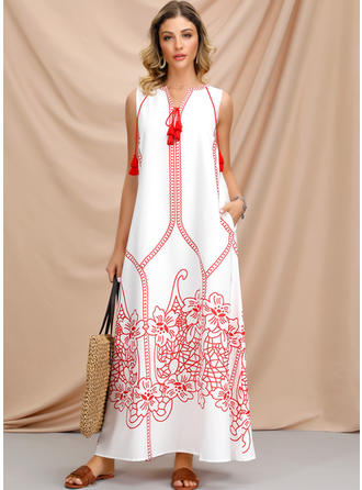 Print/Floral Sleeveless Shift Maxi Casual/Boho/Vacation Dresses