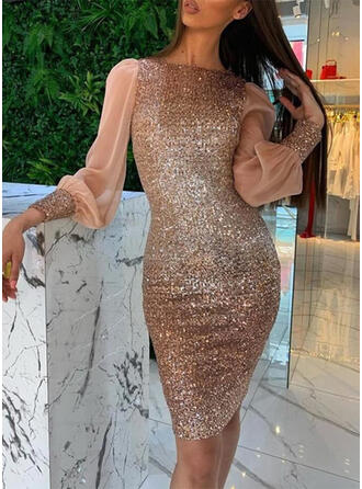 Sequins Long Sleeves/Lantern Sleeve Bodycon Knee Length Party Pencil Dresses