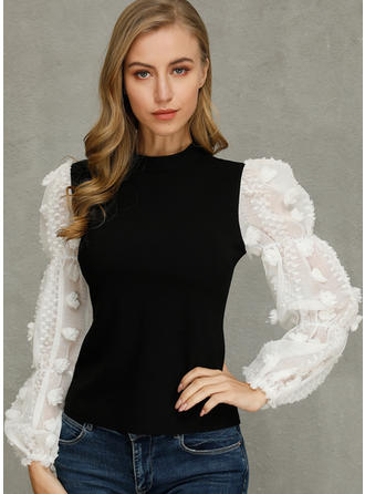Color Block Stand collar Long Sleeves Casual Elegant Blouses