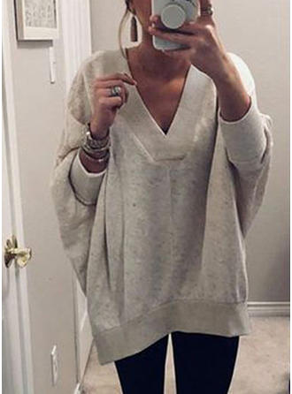 Plain V-neck Sweater Dress