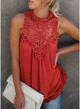 Lace Stand-up Collar Sleeveless Casual Elegant Blouses