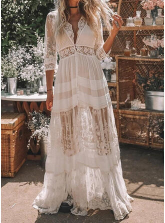 Lace/Solid 3/4 Sleeves A-line Casual/Vacation Maxi Dresses