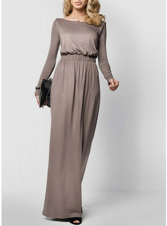 Einfarbig Lange Ärmel Etui Midi Freizeit Kleider