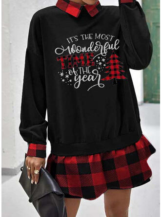 Estampado/Xadrez Manga Comprida Shift Acima do Joelho Natal/Casual Sweatshirt Vestidos