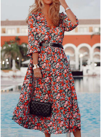 Print/Floral 3/4 Sleeves A-line Casual/Vacation Midi Dresses