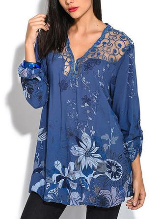 Print V Neck Long Sleeves Casual Elegant Blouses