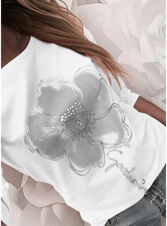 Impresión Floral Carta Cuello Redondo Manga Larga Casual Blusas