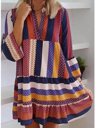 Print/Striped 3/4 Sleeves Shift Above Knee Casual Dresses