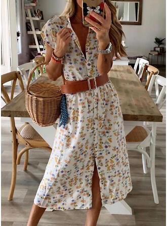 Nadrukowana/Kwiatowy Rękawy z kapturkami W kształcie litery A Casual Midi Sukienki