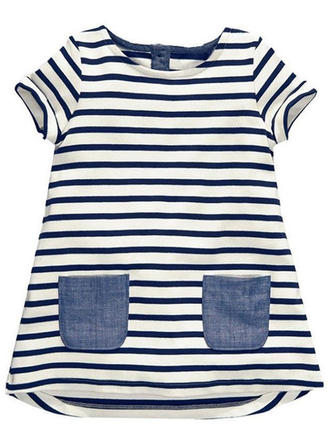 Girls Round Neck Striped Buttons Casual Cute Dress