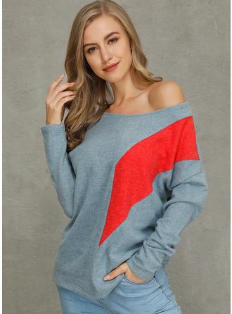 Kunstseide Farbblock Pullover