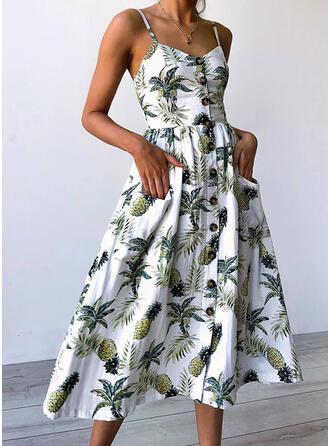 Impresión Sin mangas Acampanado Casual/Vacaciones Midi Vestidos